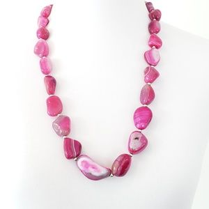 Artisan Necklace Pink Stone 925 Sterling Silver
